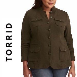 Torrid Army Green Military Style Jacket 1X